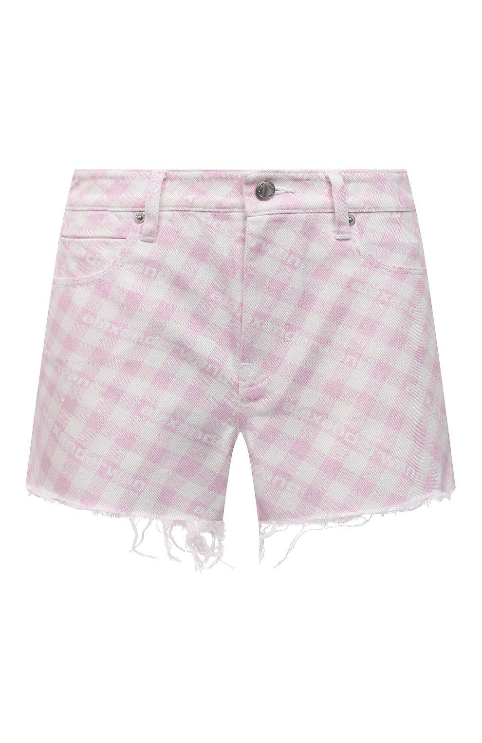 Женские джинсовые шорты DENIM X ALEXANDER WANG розового цвета, арт. 4DC2214939   Фото 1 (Женское Кросс-КТ: Шорты-одежда; Кросс-КТ: Деним; Длина Ж (юбки, платья, шорты): Мини; Стили: Гранж; Материал внешний: Хлопок)
