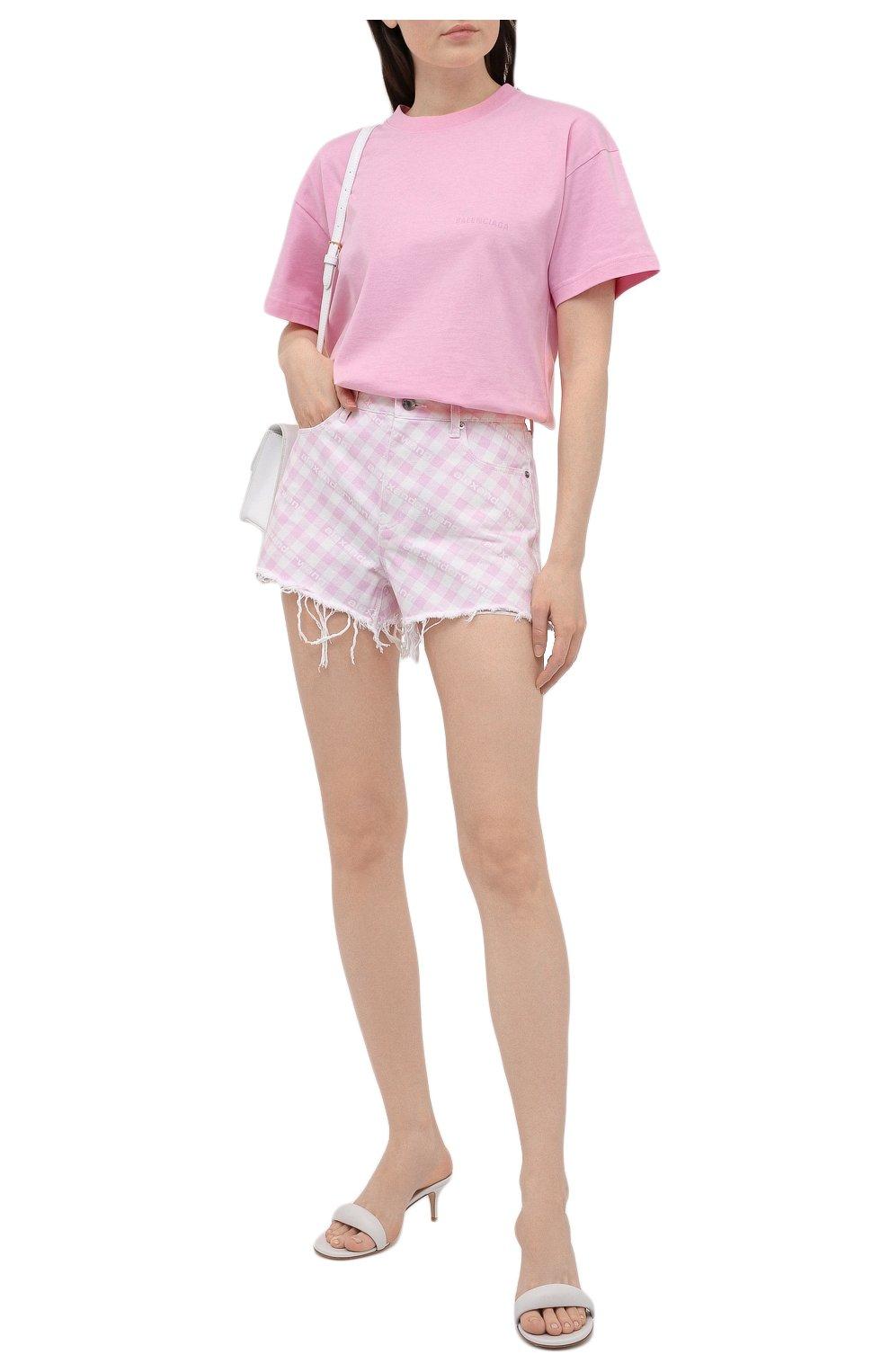 Женские джинсовые шорты DENIM X ALEXANDER WANG розового цвета, арт. 4DC2214939   Фото 2 (Женское Кросс-КТ: Шорты-одежда; Кросс-КТ: Деним; Длина Ж (юбки, платья, шорты): Мини; Стили: Гранж; Материал внешний: Хлопок)