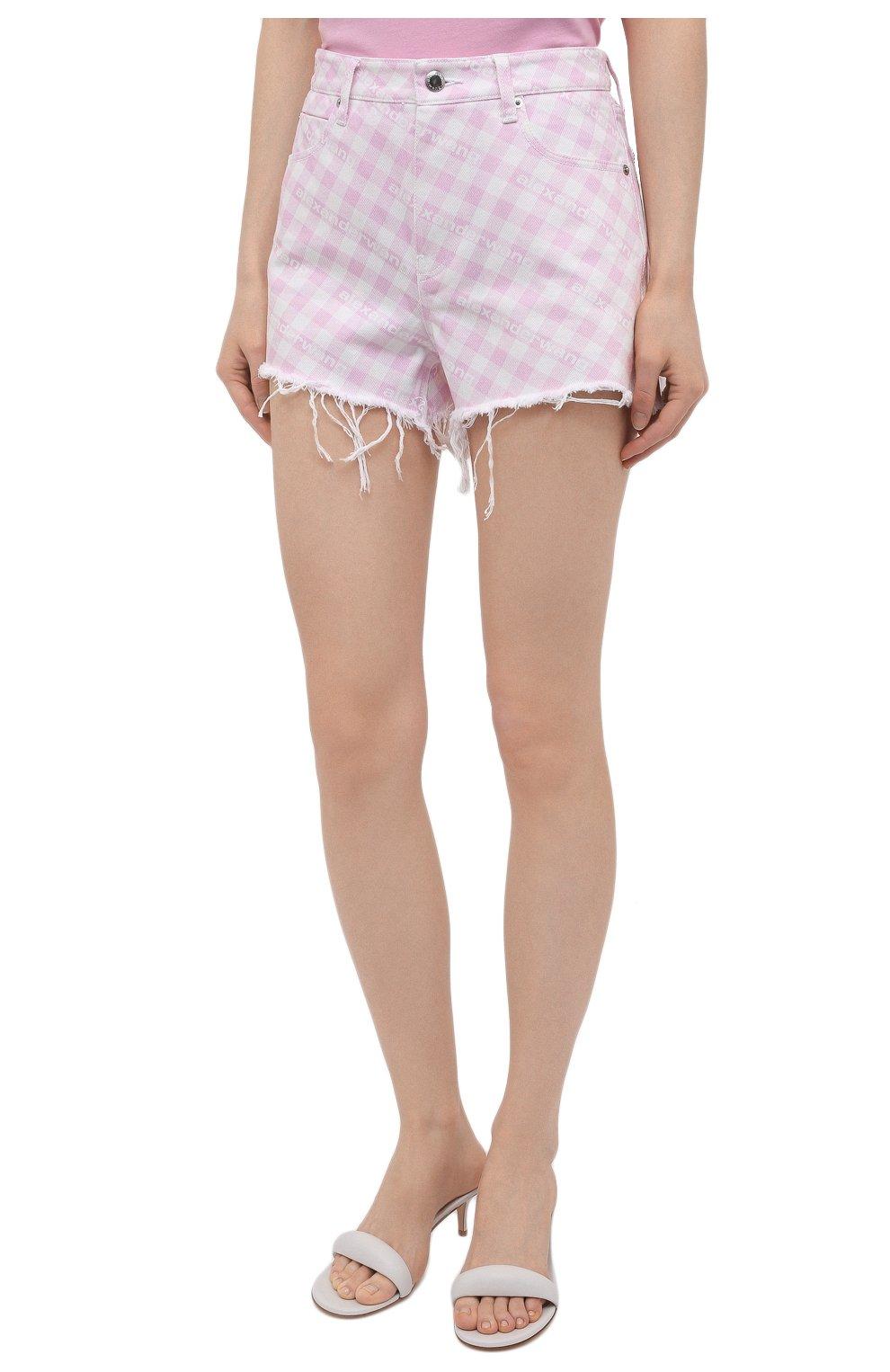 Женские джинсовые шорты DENIM X ALEXANDER WANG розового цвета, арт. 4DC2214939   Фото 3 (Женское Кросс-КТ: Шорты-одежда; Кросс-КТ: Деним; Длина Ж (юбки, платья, шорты): Мини; Стили: Гранж; Материал внешний: Хлопок)