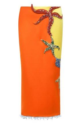 Женская юбка VERSACE оранжевого цвета, арт. A89177/A224536   Фото 1 (Женское Кросс-КТ: Юбка-одежда; Материал внешний: Синтетический материал; Материал подклада: Синтетический материал; Длина Ж (юбки, платья, шорты): Миди; Стили: Романтичный)