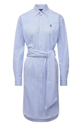 Женское хлопковое платье POLO RALPH LAUREN синего цвета, арт. 211781122   Фото 1
