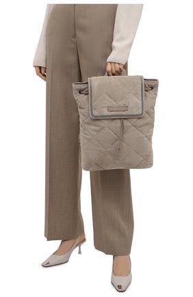 Женский рюкзак BRUNELLO CUCINELLI светло-серого цвета, арт. MBDLD2217P   Фото 2