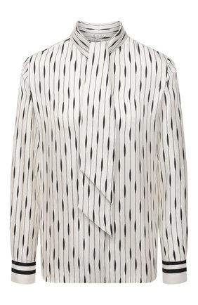 Женская шелковая блузка LORO PIANA белого цвета, арт. FAL8051 | Фото 1 (Рукава: Длинные; Материал внешний: Шелк; Женское Кросс-КТ: Блуза-одежда; Принт: С принтом; Длина (для топов): Стандартные; Стили: Романтичный)