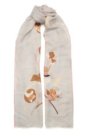 Женская шаль из кашемира и шелка LORO PIANA светло-серого цвета, арт. FAL7686 | Фото 1 (Материал: Шерсть, Кашемир, Шелк, Текстиль)