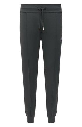 Мужские джоггеры BOSS темно-зеленого цвета, арт. 50452303   Фото 1 (Материал внешний: Синтетический материал, Хлопок; Кросс-КТ: Спорт; Силуэт М (брюки): Джоггеры; Мужское Кросс-КТ: Брюки-трикотаж; Длина (брюки, джинсы): Стандартные; Стили: Спорт-шик)