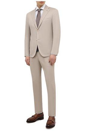 Мужской костюм из хлопка и кашемира CORNELIANI бежевого цвета, арт. 87NY76-1114105/90 | Фото 1