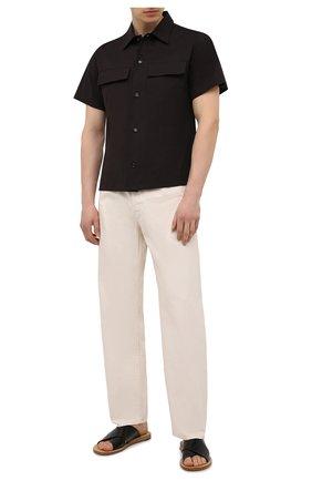 Мужские кожаные шлепанцы DOLCE & GABBANA черного цвета, арт. A80225/A8M24 | Фото 2