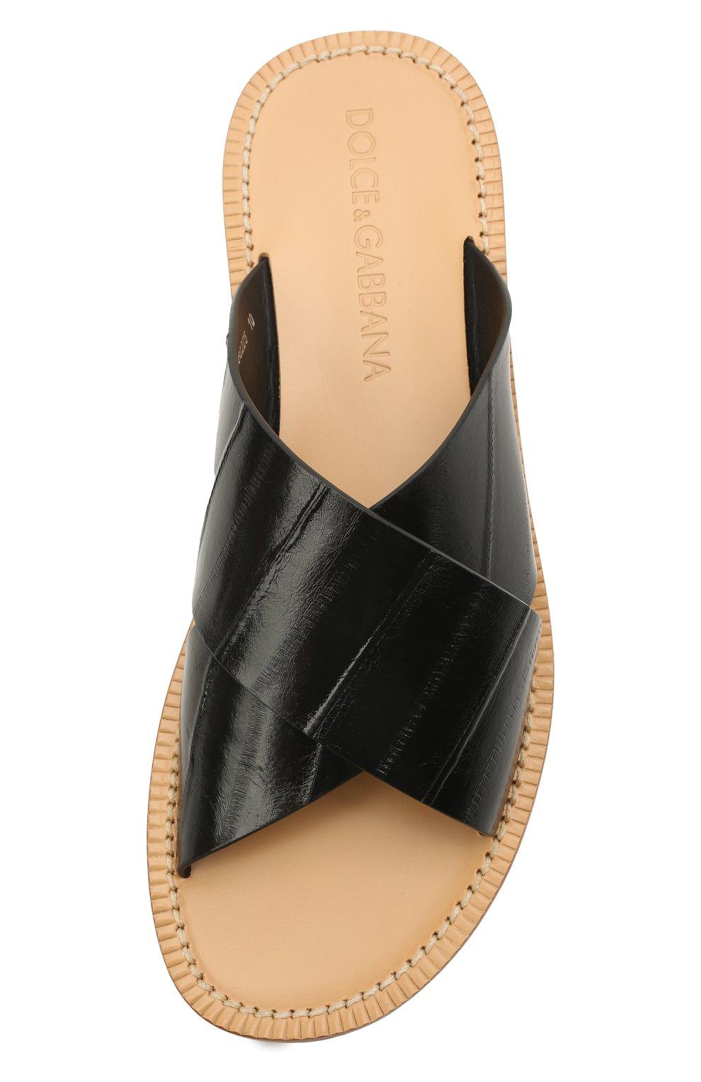 Мужские кожаные шлепанцы DOLCE & GABBANA черного цвета, арт. A80225/A8M24 | Фото 5