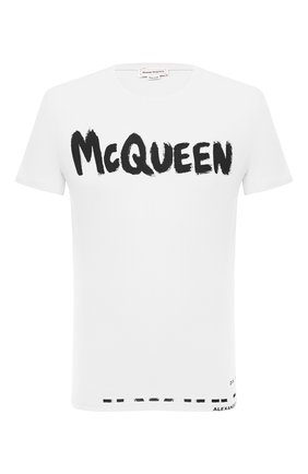Мужская хлопковая футболка ALEXANDER MCQUEEN белого цвета, арт. 622104/QPZ57 | Фото 1 (Материал внешний: Хлопок; Принт: С принтом; Стили: Гранж; Длина (для топов): Стандартные; Рукава: Короткие)