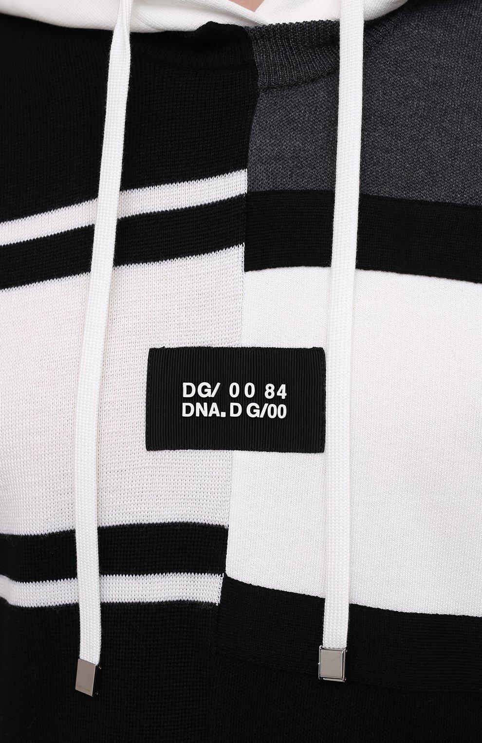 Мужской худи из шерсти и хлопка DOLCE & GABBANA черно-белого цвета, арт. GXE37Z/JBML8 | Фото 5
