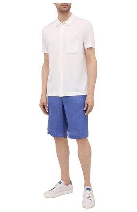 Мужские льняные шорты ZILLI SPORT синего цвета, арт. M0V-D0171-LIN01/S001   Фото 2