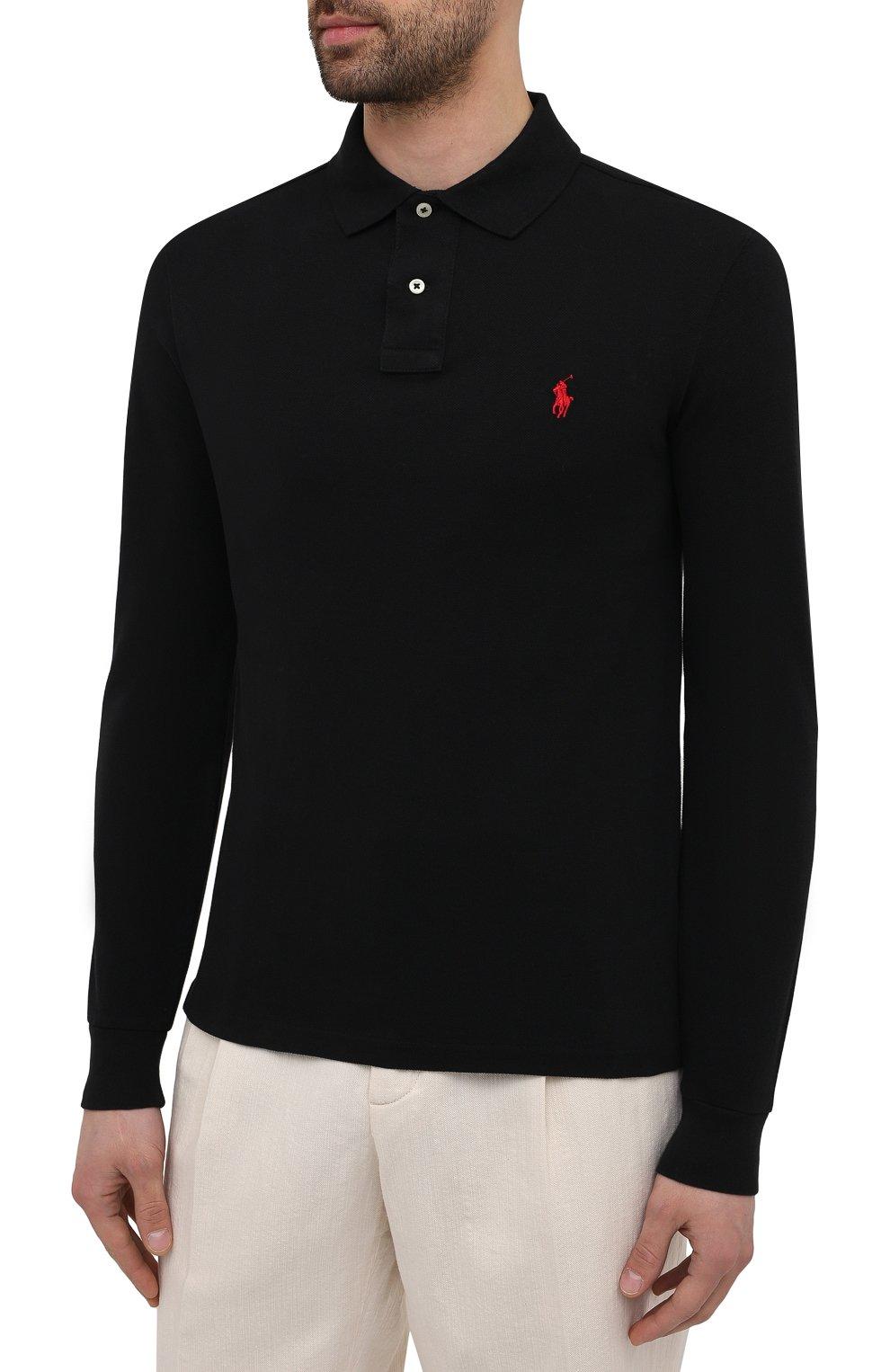 Мужское хлопковое поло  POLO RALPH LAUREN черного цвета, арт. 710681126 | Фото 3