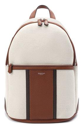 Мужской комбинированный рюкзак SERAPIAN кремвого цвета, арт. SRCANMLL692431D | Фото 1