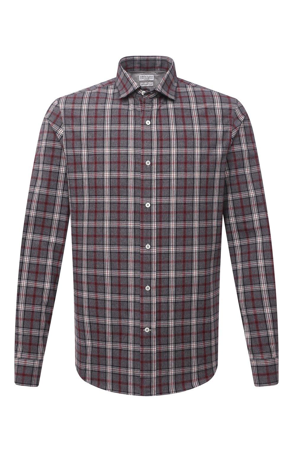 Мужская хлопковая рубашка BRUNELLO CUCINELLI серого цвета, арт. MR6363029 | Фото 1