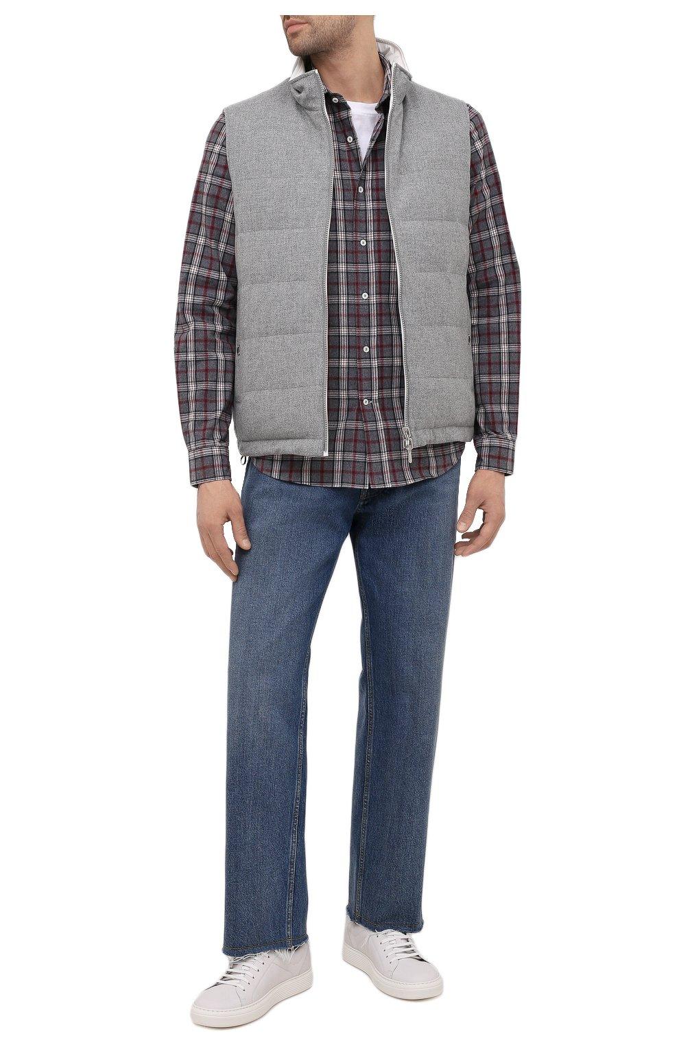 Мужская хлопковая рубашка BRUNELLO CUCINELLI серого цвета, арт. MR6363029 | Фото 2