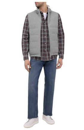 Мужская хлопковая рубашка BRUNELLO CUCINELLI серого цвета, арт. MR6363029 | Фото 2 (Длина (для топов): Стандартные; Случай: Повседневный; Материал внешний: Хлопок; Рукава: Длинные; Стили: Кэжуэл; Манжеты: На пуговицах; Воротник: Акула; Принт: Клетка)