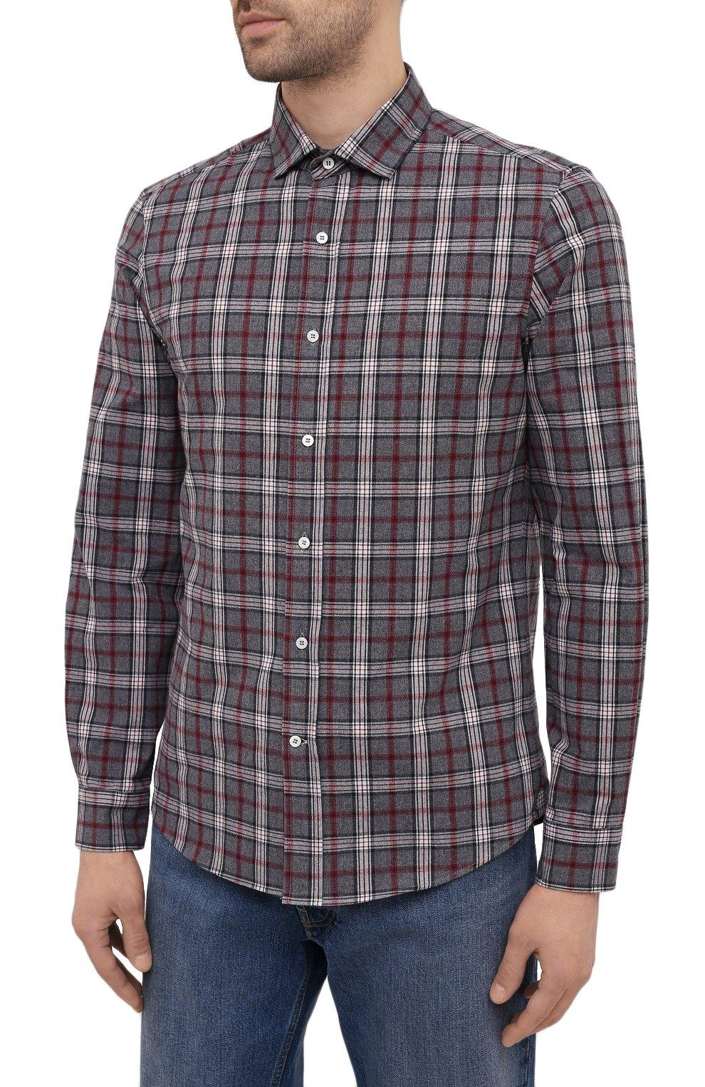 Мужская хлопковая рубашка BRUNELLO CUCINELLI серого цвета, арт. MR6363029 | Фото 3