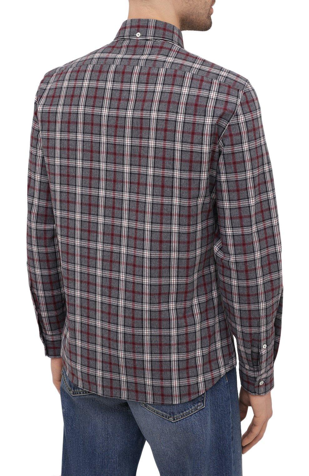 Мужская хлопковая рубашка BRUNELLO CUCINELLI серого цвета, арт. MR6363029 | Фото 4