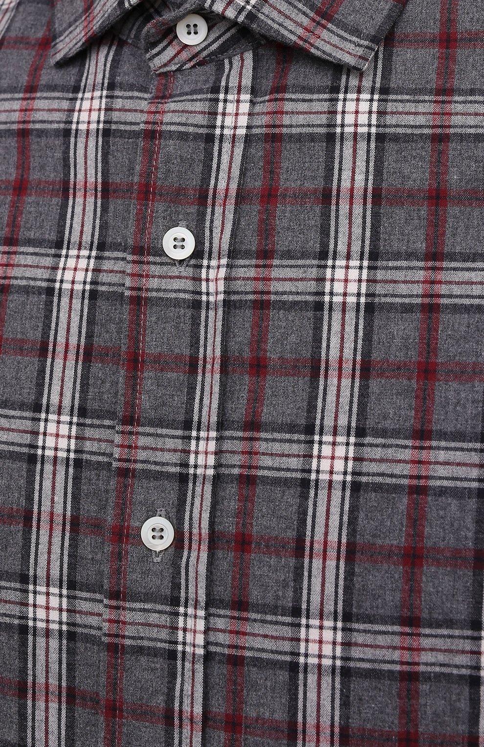 Мужская хлопковая рубашка BRUNELLO CUCINELLI серого цвета, арт. MR6363029 | Фото 5