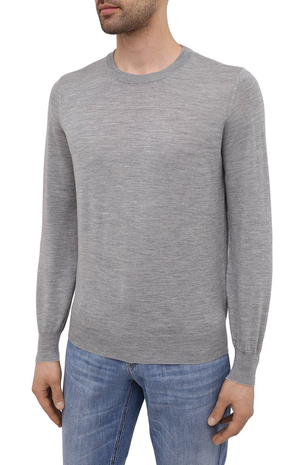 Мужской джемпер из шерсти и кашемира BRUNELLO CUCINELLI серого цвета, арт. M2400100 | Фото 3