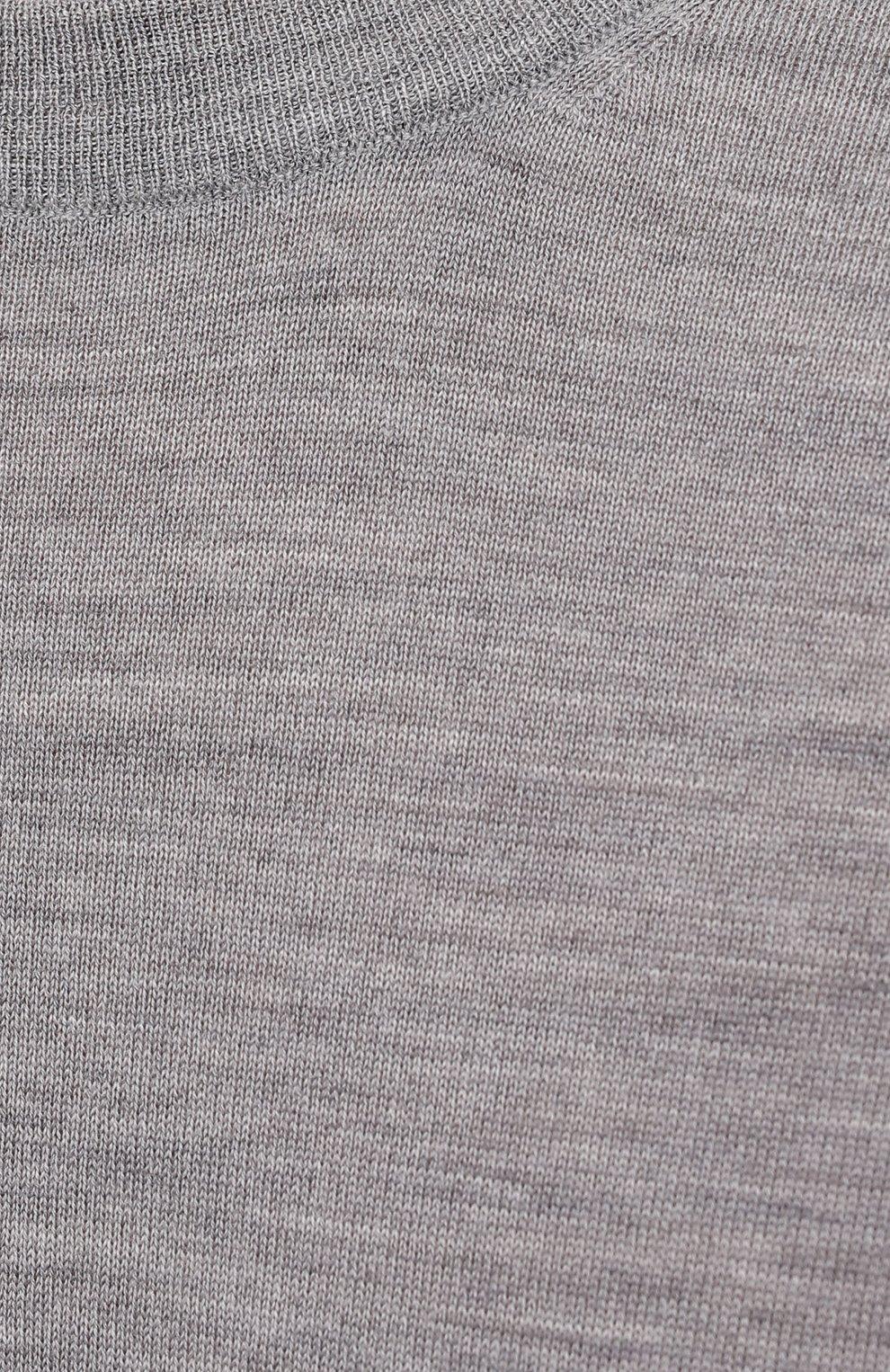 Мужской джемпер из шерсти и кашемира BRUNELLO CUCINELLI серого цвета, арт. M2400100 | Фото 5