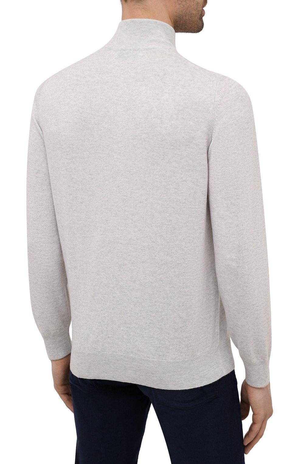 Мужской кашемировый джемпер BRUNELLO CUCINELLI светло-серого цвета, арт. M2200124 | Фото 4
