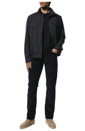 Мужские хлопковые брюки LORO PIANA темно-синего цвета, арт. FAI2480 | Фото 2 (Длина (брюки, джинсы): Стандартные; Случай: Повседневный; Стили: Кэжуэл; Материал внешний: Хлопок)