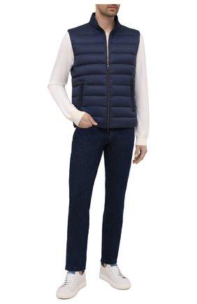 Мужские джинсы LORO PIANA темно-синего цвета, арт. FAF8318 | Фото 2 (Материал внешний: Хлопок, Деним; Стили: Кэжуэл; Силуэт М (брюки): Прямые; Длина (брюки, джинсы): Стандартные)