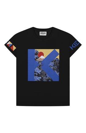 Детская хлопковая футболка KENZO темно-синего цвета, арт. K25108   Фото 1