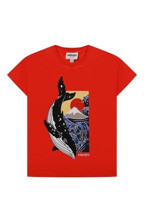 Детская хлопковая футболка KENZO красного цвета, арт. K25110   Фото 1