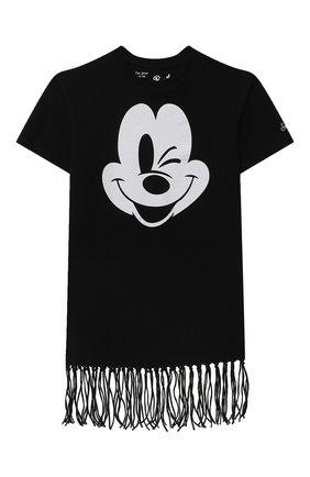 Детское хлопковое платье-футболка MC2 SAINT BARTH черного цвета, арт. STBK ABBEY/ABY0001/MKWK00   Фото 1