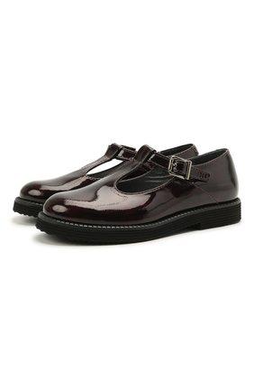 Детские кожаные туфли BEBERLIS бордового цвета, арт. 21707-A/28-30 | Фото 1