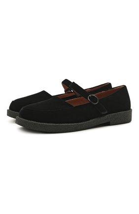Детские текстильные туфли AGE OF INNOCENCE черного цвета, арт. 000229/ARIA 2.0 (VELVET)/33-37 | Фото 1