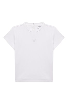 Детский хлопковая футболка EMPORIO ARMANI белого цвета, арт. 8NET03/3J08Z   Фото 1