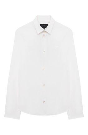Детская хлопковая рубашка EMPORIO ARMANI белого цвета, арт. 8N4C09/1N06Z | Фото 1