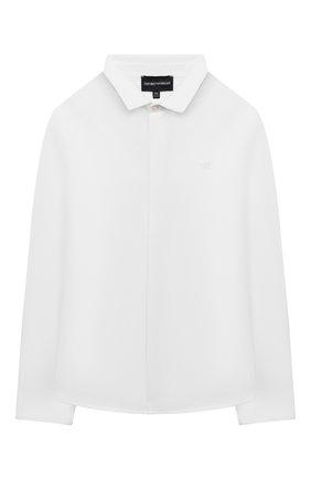 Детская хлопковая рубашка EMPORIO ARMANI белого цвета, арт. 6K4CN5/4N5SZ | Фото 1