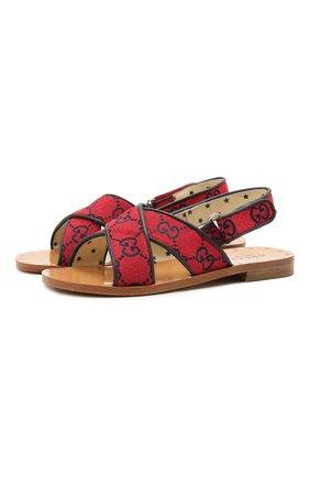 Детские сандалии GUCCI красного цвета, арт. 603854/9SFK0 | Фото 1