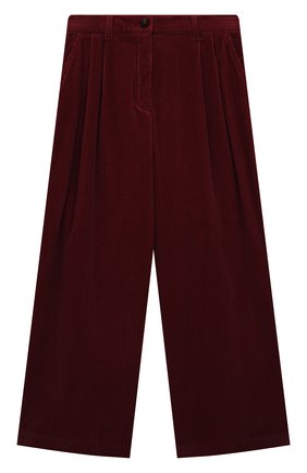 Детские хлопковые брюки LORO PIANA бордового цвета, арт. FAL7502 | Фото 1 (Материал внешний: Хлопок; Девочки Кросс-КТ: Брюки-одежда; Ростовка одежда: 10 - 11 лет | 140 - 146см, 12 лет | 152 см, 4 года | 104 см, 6 лет | 116 см, 8 лет | 128 см)