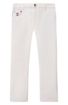 Детские джинсы BRUNELLO CUCINELLI белого цвета, арт. B277PD300B   Фото 1 (Материал внешний: Хлопок; Ростовка одежда: 10 - 11 лет   140 - 146см, 8 лет   128 см)