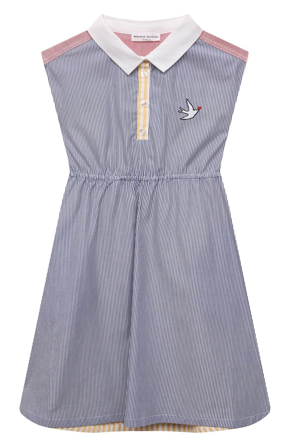 Детское хлопковое платье SONIA RYKIEL ENFANT синего цвета, арт. 21S1DR02 | Фото 1 (Случай: Повседневный; Материал внешний: Хлопок; Рукава: Без рукавов; Девочки Кросс-КТ: Платье-одежда; Ростовка одежда: 10 - 11 лет | 140 - 146см, 12 лет | 152 см, 13 - 15 лет | 158 см, 4 года | 104 см, 6 лет | 116 см, 8 лет | 128 см)
