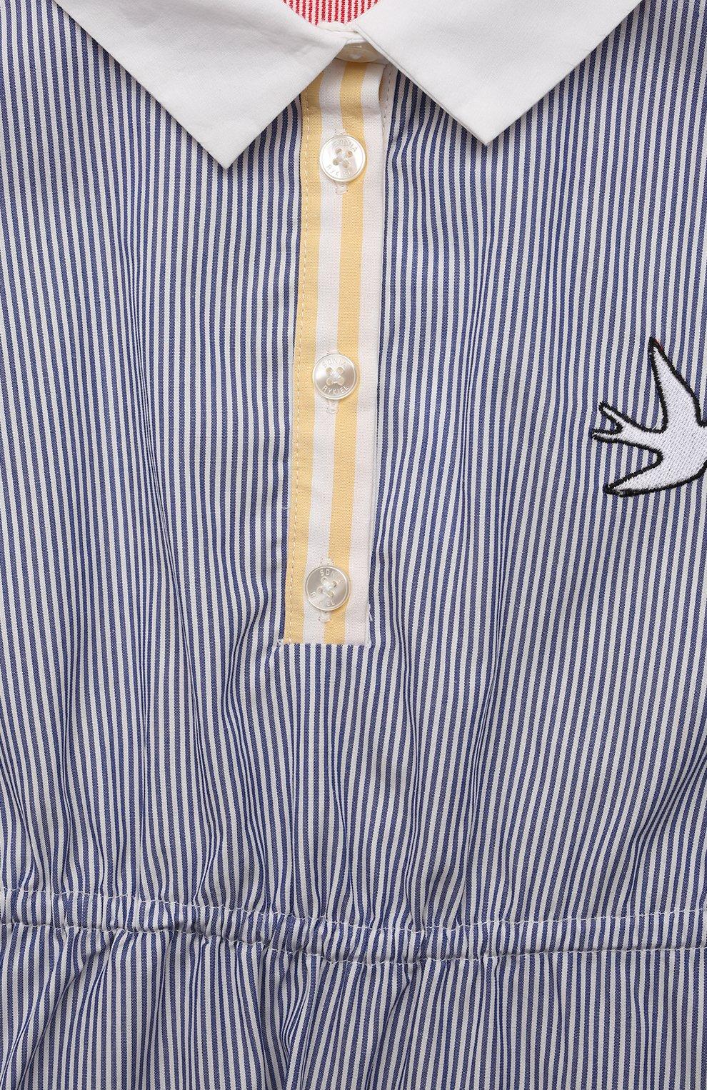 Детское хлопковое платье SONIA RYKIEL ENFANT синего цвета, арт. 21S1DR02 | Фото 3 (Случай: Повседневный; Материал внешний: Хлопок; Рукава: Без рукавов; Девочки Кросс-КТ: Платье-одежда; Ростовка одежда: 10 - 11 лет | 140 - 146см, 12 лет | 152 см, 13 - 15 лет | 158 см, 4 года | 104 см, 6 лет | 116 см, 8 лет | 128 см)