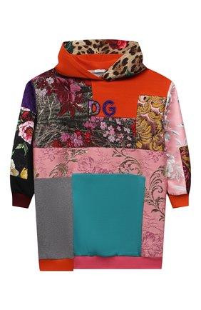 Детское платье DOLCE & GABBANA разноцветного цвета, арт. L5JD2M/G7YPV/8-14 | Фото 1 (Девочки Кросс-КТ: Платье-одежда; Случай: Повседневный; Материал внешний: Синтетический материал, Хлопок; Материал подклада: Хлопок; Рукава: Длинные; Ростовка одежда: 10 - 11 лет | 140 - 146см, 12 лет | 152 см, 8 лет | 128 см)