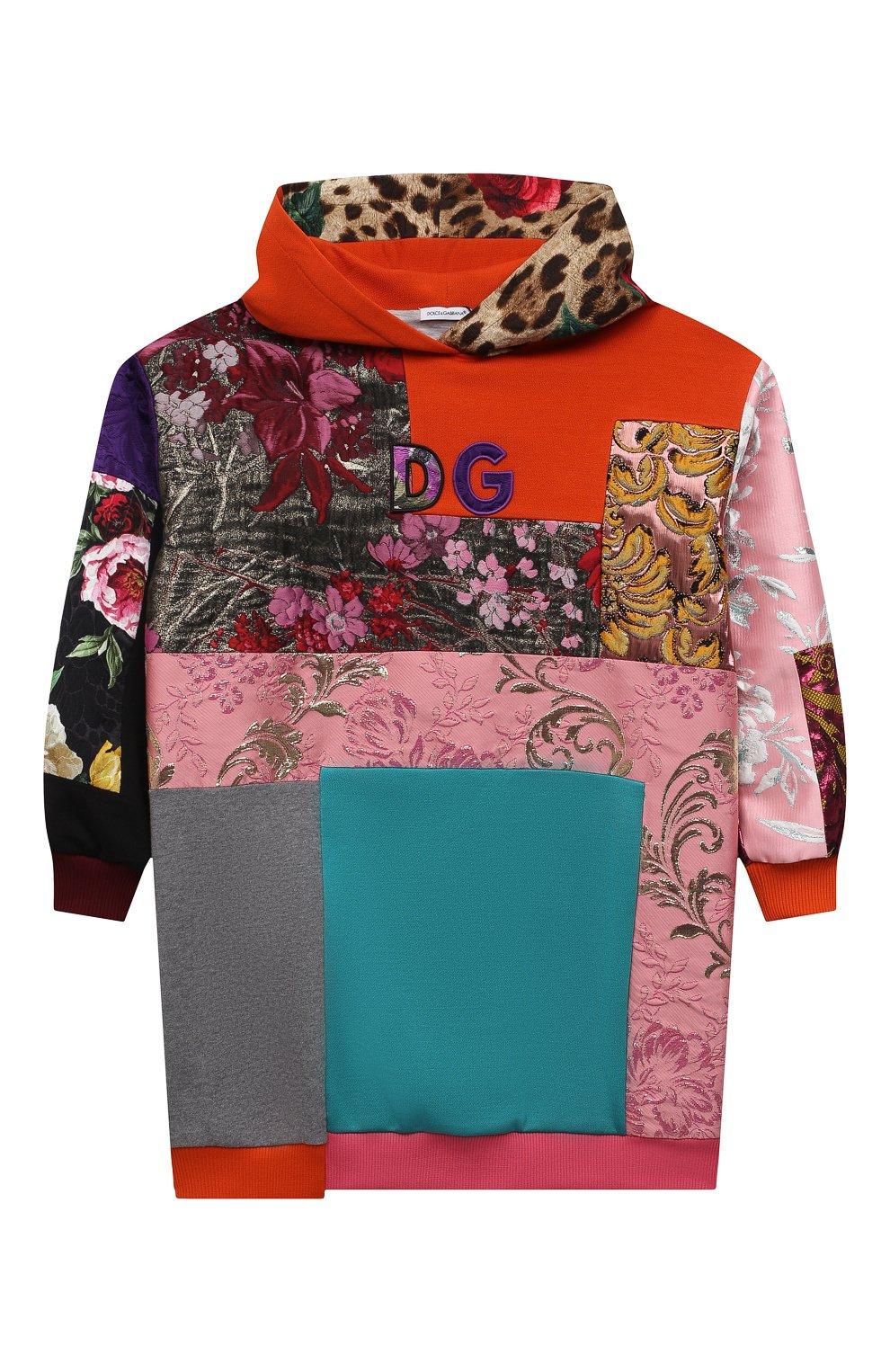 Детское платье DOLCE & GABBANA разноцветного цвета, арт. L5JD2M/G7YPV/2-6   Фото 1 (Рукава: Длинные; Случай: Повседневный; Материал внешний: Синтетический материал, Хлопок; Девочки Кросс-КТ: Платье-одежда; Материал подклада: Хлопок; Ростовка одежда: 2 года   92 см, 3 года   98 см, 4 года   104 см, 5 лет   110 см, 6 лет   116 см)