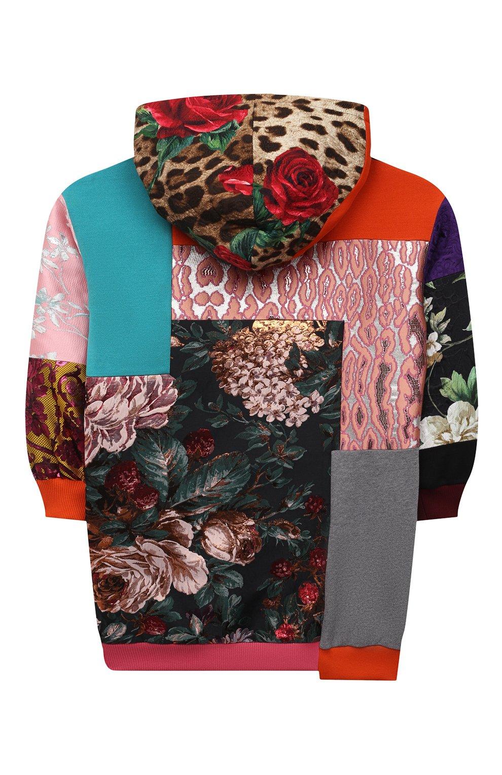 Детское платье DOLCE & GABBANA разноцветного цвета, арт. L5JD2M/G7YPV/2-6   Фото 2 (Рукава: Длинные; Случай: Повседневный; Материал внешний: Синтетический материал, Хлопок; Девочки Кросс-КТ: Платье-одежда; Материал подклада: Хлопок; Ростовка одежда: 2 года   92 см, 3 года   98 см, 4 года   104 см, 5 лет   110 см, 6 лет   116 см)