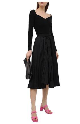 Женские кожаные мюли lenny BY FAR фуксия цвета, арт. 21SSLENMFCHGRL | Фото 2