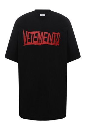 Женская хлопковая футболка VETEMENTS черного цвета, арт. UA52TR580R 1610/W   Фото 1