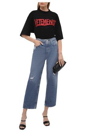 Женская хлопковая футболка VETEMENTS черного цвета, арт. UA52TR580R 1610/W   Фото 2