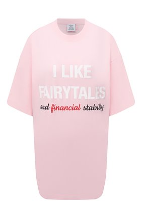 Женская хлопковая футболка VETEMENTS розового цвета, арт. UA52TR530P 1610/W | Фото 1