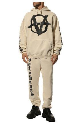 Мужские хлопковые джоггеры VETEMENTS кремвого цвета, арт. UA52PA270W 1601/M | Фото 2