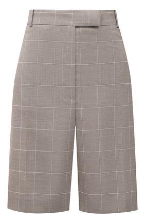 Женские шорты из шерсти и шелка BOSS бежевого цвета, арт. 50448031 | Фото 1